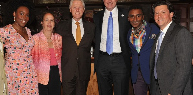 Marcus Samuelsson, Herb Karlitz, Honorary Chair President Bill Clinton And Special Guest Mayor Bill De Blasio Announce Harlem EatUp! Festival